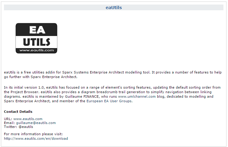 eautils third party addin for sparxsystems enterprise architect
