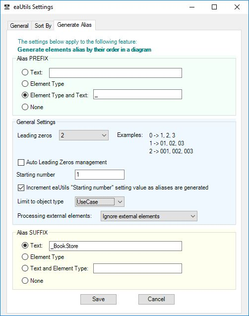 eautils sparx ea addin generate alias settings prefix suffix